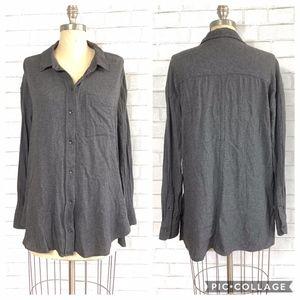 Athleta LS Hi-Lo Wool Athleisure Button-Down Shirt